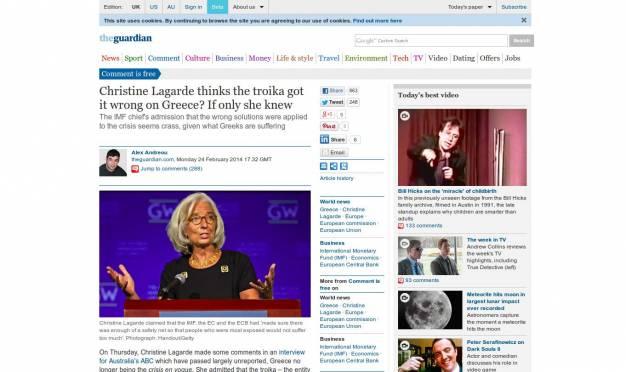 Guardian: Η Λαγκαρντ των 500 χιλ. $ δεν αντιλαμβάνεται την ελληνική τραγωδία